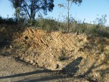 Von den Kraeften aus dem Untergrund schraeg gestellte Gesteinsschichten, die beim Wegebau im Mata Nacional bei Tavira freigelegt wurden.